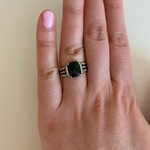 David Yurman Petite Wheaton ring Onyx w/ diamonds